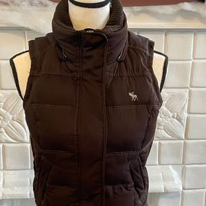 Brown Abercrombie & Fitch Down Puffer Vest
